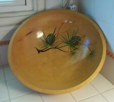 """Large 16"""" Footed Wooden Centerpiece Bowl Hand-painted Pine Cones~Rio Grande?"""