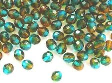 20 Cristal Checo Mixtos Turquesa/Topacio Fuego Pulido Beads - 8 mm (t050)