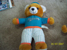 "Stuffed Plush Baseball Bear FLORIDA / MIAMI MARLINS  9.5"" Tall"