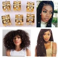 50Pcs Gold Rhinestone Hair Dread Braids Dreadlock Beads Adjustable Braid Cuffs