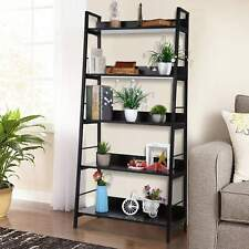 Durable Bookcase Bookshelf Leaning Wall Shelf Shelving Ladder Storage 4/5 Tiers~