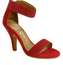 Jeffrey Campbell Ibiza Classic Red Suede Ankle Strap Sandals Heels Size  7.5