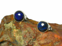 Blue  LAPIS  Gemstone Sterling  Silver  925 Round  Earrings / STUDS - 8 mm