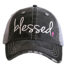 "BASEBALL CAP- TRUCKER CAP - ""BLESSED (PINK CROSS)""  HAT -MESH HAT"
