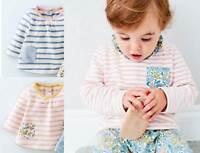 Mini Boden girls soft jersey stripe top pink blue baby age 2-3