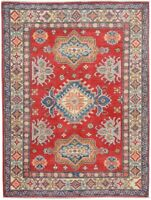 Hand-Knotted Classic Super Kazak Area Rug Wool Oriental Traditional Carpet 4x6