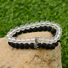 2Pcs/Set King and Queen Crown Natural Stone Couples Bracelets Charm Jewelry Gift