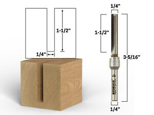 "1/4"" Diameter Carbide Insert Straight Router Bit - 1/4"" Shank - Yonico 14037q"