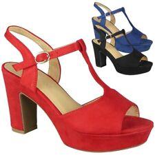 Sandalias de mujer de fiesta puntera abierta plataforma de verano señoras tacones altos Cómodos Zapatos Talla