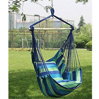 Hammock Hanging Rope Chair Swing Seat Patio Camping /w 2 Pillows Blue