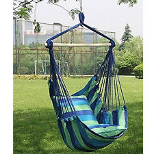 Hammock Hanging Rope Chair Porch Swing Seat Patio Camping Portable Blue