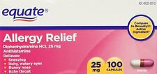 Equate Allergy Relief Diphenhydramine HCI, 25 mg 100 ct