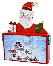 Santa with Snowman and Children Wooden Christmas Advent Countdown Calendar C5856