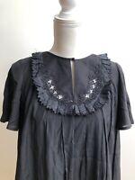 3.1 Phillip Lim Dress Black Short Sleeve Peasant Ruffled Yoke Women's Size 0