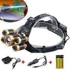 80000Lumens 5x T6 LED Rechargeable 18650 Headlamp HeadLight Torch Lamp Charger