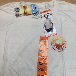 Mens  1960 Graphic Logo Hang Ten Natural Cream Short Sleeve T-Shirt Tee 2XL XXL