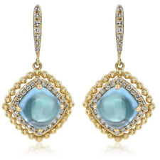 14K YELLOW GOLD PAVE DIAMOND BLUE TOPAZ DANGLE DROP DANGLING EARRINGSS