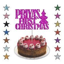 First Christmas Celebration, Personalised Xmas Cake Topper Glitter Cake Decor UK