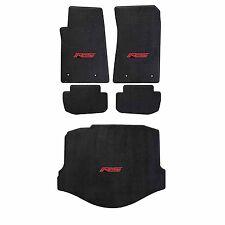 2010-15 Camaro Coupe Ebony Black Ultimat Floor & Trunk Mats Set - Red RS Logos