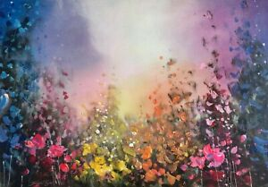 ORIGINAL Painting on Linen - Colour Floral Moonlit Garden Art By JENNIFER TAYLOR