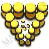 "V077 Fake Cheaters Illusion Plugs 4 2 0 00G 7/16 1/2"" Yellow 4 5 6 8 10 11 12mm"