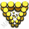 "V077 Fake Cheaters Illusion Plugs 4 2 0 00G 7/16 1/2"" Yellow 4 5 6 8 10 11 12mm"