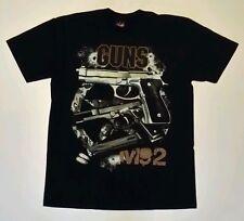 "Black ""Guns M92"", Hot Rock brand T-shirt, Both sides printed.  (Large)"