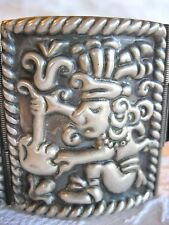 VINTAGE GUADALAJARA MEXICAN 925 STERLING SILVER ALC AZTEC INCA PANEL BRACELET