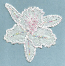 """CATTLEYA ORCHID WHITE/PINK 3 1/4"""" IRON ON APPLIQUE"""
