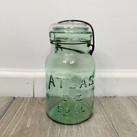 Vintage Lightning Jar Atlas E-Z Seal Quart Size
