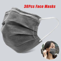 30Pcs Disposable 3 Ply Face Mask Activated Carbon Mouth Cover Anti Haze Dust Fog