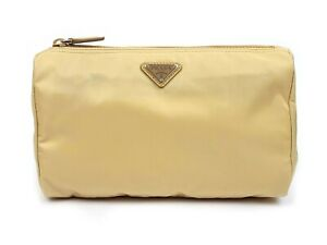 PRADA Beige Nylon Necessaire Toiletry Make-up Metal Logo Bag Pouch NWT