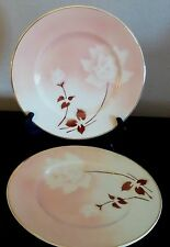 Syracuse Madam Butterfly Old Ivory Dinner Plates x2 White Flowers Brown Leaves