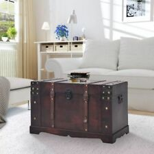 Steamer Trunk Wood Storage Wooden Treasure Chest Coffee Table Large Mocha Brown