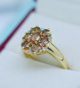 Vintage Jewelry 9K Gold Ring Natural Diamonds Andalusite Gem Antique Jewellery O