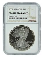 2002 W 1oz Silver Eagle Proof NGC PF69 Ultra Cameo - Brown Label