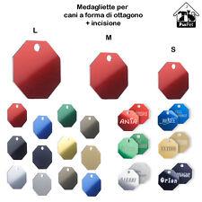 Medaglietta per cani a forma di ottagono + incisione personalizzata + anellino