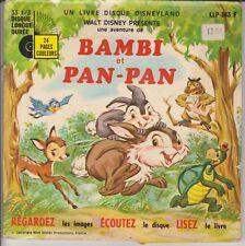 """WALT DISNEY BAMBI ET PAN-PAN DENISE BENOIT LIVRE DISQUE 33T 7"""" PORT PRIX COUTANT"""