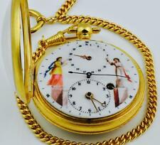 MUSEUM Fusee Cylinder Calendar Doctors Memento Mori SKULL watch.Central seconds