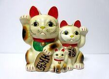 RARE Vintage JAPAN Beckoning cat, Maneki Neko,amulet, pottery Piggy bank 27cm