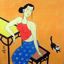 Chinese Painting Ink Figures Art-Sexy Beauty Lady Lovely Kitten MN19 13x13""