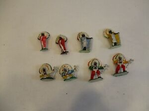 """Vintage Plastic Toy Hand Painted American Indian 2 1/8"""" Figurines"""