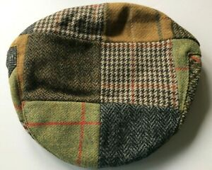 Irish patchwork tweed wool flat cap Shandon Cork Ireland green brown multicolor