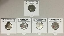 CANADA 2012 New Complete set 5 x 25 cents (BU directly from mint roll)