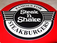 "VINTAGE STEAK N SHAKE 11 3/4"" PORCELAIN METAL CHEESEBURGER SODA POP GAS OIL SIGN"