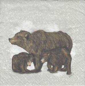3 Lunch Papier Servietten Napkins (Y30-14)  Grizzly - Bär - Braunbär mit Jungen