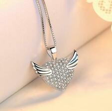 925 Sterling Silver Cubic Zirconia Guardian Angel Wing Heart Pendant Necklace