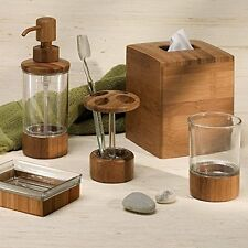 mDesign Bath Accessories Set - 4 Piece Clear Plastic, Bamboo Accents