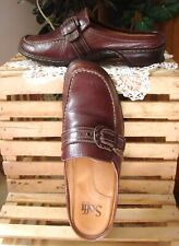SOFFT~ BROWN LEATHER COMFORT LOAFERS MULES W/BUCKLED STRAP ~LOW HEEL~SZ 8M ~VGC!