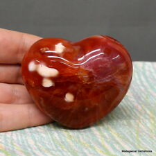 "2.28"" Gorgeous Natural Carnelian Agate Heart Reiki Stone Madagascar Crn849"